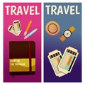 Vector banner with travel items. Flat illustration. Book, ticket, guide, text book, notepad, hat, watch