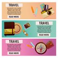 Vector banner with travel items. Flat illustration. Notepad, notebook, photocamera, pencil, pen, compass, wallet, card