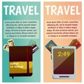 Vector banner with travel items. Flat illustration. Tablet, ticket, passport, notepad, notebook, documents