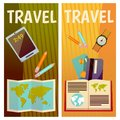 Vector banner with travel items. Flat illustration. Book, ticket, guide, text book, notepad, hat, watch, map, pencil
