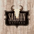 Vector banner for Western saloon with bull skull Royalty Free Stock Photo