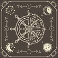 Banner with wind rose, old compass and ship wheel Royalty Free Stock Photo