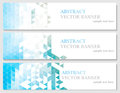 Vector banners with abstract multicolored polygonal mosaic background. Royalty Free Stock Photo