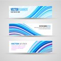 Vector banners blue ocean banner template of clean background with abstract waves Stock Photos