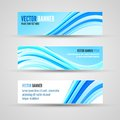 Vector banners blue ocean banner template of clean background with abstract waves Royalty Free Stock Images