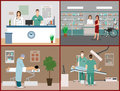 Vector banners set with patients, doctors and hospital interiors. Health care medicine concept. Flat cartoon