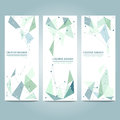 Vector banners set with polygonal abstract shapes, with circles, lines, triangles Royalty Free Stock Photo