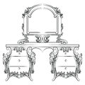 Vector Baroque furniture Dressing Table and mirror frame