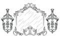 Vector Baroque mirror frame