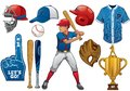 Baseball elements in set