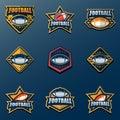 Set of American Football Logo Template. Vector College Logos Ill
