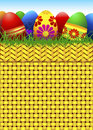 Vector basket full of Easter eggs Stock Photography