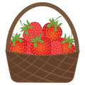 Vector Basket with Strawberries. Vector Strawberry.