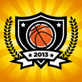 Vector basketball emblem on orange bursting background Stock Photography