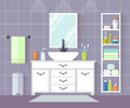 Vector bathroom. Interior design with furniture in flat style.