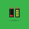 Vector battery icon full charge and battery discharged. Battery charge indicator