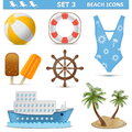 Vector beach icons set isolated on white background Stock Photo
