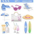 Vector beach icons set on white background Stock Images