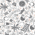 Vector beach seamless pattern. Summer background. Royalty Free Stock Photo