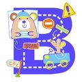 Vector bear alphabet