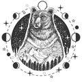 Vector bear head tattoo or t-shirt print design