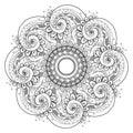 Vector beautiful deco monochrome contour mandala patterned design element ethnic amulet Royalty Free Stock Photography