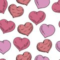 Vector doodle various hearts illustration st valentine`s seamless pattern in red, Violet colours isolated on white background