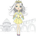 Vector beautiful fashion girl princess top model in the crown of the castle and ramparts Royalty Free Stock Image