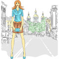 Vector beautiful fashion girl top model fashionable attractive in a short skirt and a clutch bag in the street in st petersburg Stock Images