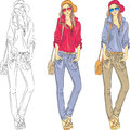 Vector beautiful fashion girls top models with gla set in jeans shirt cap glasses and bag in three color combinations Royalty Free Stock Image