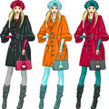 Vector beautiful fashion girls top models set model in a beret coat and boots in three color combinations Royalty Free Stock Image