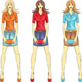 Vector beautiful fashion girls top models set model with clutches in three color combinations Royalty Free Stock Photo