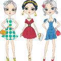 Vector beautiful fashion girls top models set model in elegant dresses with polka dot pattern and with clutches Royalty Free Stock Images