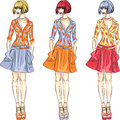 Vector beautiful fashion girls top models set in summer or spring dresses in three color combinations Royalty Free Stock Photography