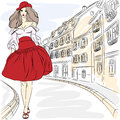 Vector beautiful fashion girls top models in summe girl model summer dress on a city street Stock Image