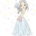 Vector beautiful fashionable girl bride in her wed wedding dress Stock Image