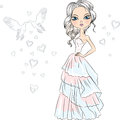 Vector beautiful fashionable girl bride in her wedding dress Royalty Free Stock Image
