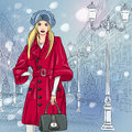 Vector beautiful fashionable girl on the christmas winter urban landscape wide avenue with vintage buildings and lanterns in st Stock Image