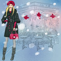 Vector beautiful fashionable girl near the christm christmas winter sketch of parisian cafe with christmas decorations Stock Images