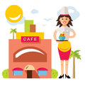 Vector Beautiful female chef with delicious dessert. Flat style colorful Cartoon illustration.