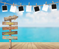 Vector beautiful sea view and photo frames on rope Royalty Free Stock Photo