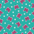 vector beautiful seamless pattern green turquoise with pink insect butterflies