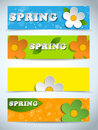 Vector beautiful spring flowers set of banners Royalty Free Stock Photos