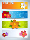 Vector beautiful spring flowers set of banners Royalty Free Stock Photography