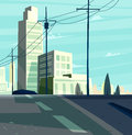 Vector beautiful sunrise over cartoon city with highway. Royalty Free Stock Photo
