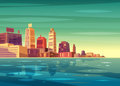 Vector beautiful sunrise over cartoon city with lake, river or ocean. Royalty Free Stock Photo
