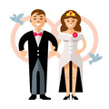 Vector Beautiful young bride and groom couple. Happy newlyweds. Flat style colorful Cartoon illustration.