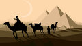 Vector bedouin caravan camels against over pyramids horizontal illustration with city on horizon Stock Photos