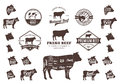Vector Beef Logo, Icons, Charts and Design Elements Royalty Free Stock Photo