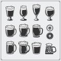 Vector beer glassware set.